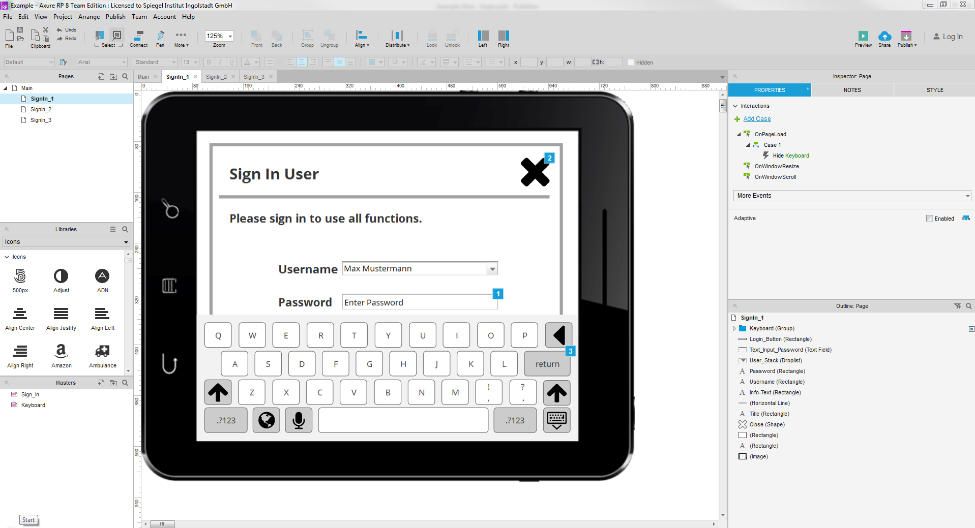 Home and login screen used as click dummy in Axure. Interactive high-fidelity prototype is excellent for presentations.
